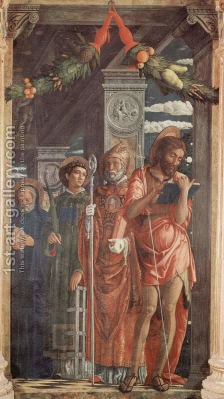 Altarpiece of San Zeno in Verona, triptych, right by Andrea Mantegna - Reproduction Oil Painting