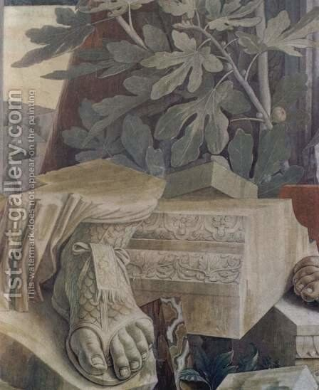 St. Sebastian, detail of fragments of sculpture and architectural fragments by Andrea Mantegna - Reproduction Oil Painting