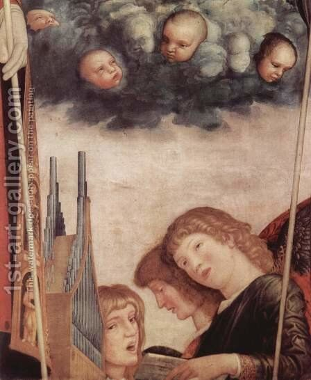 Madonna with saints, scene Mary with Christ Child with Saints, detail of angels playing instruments by Andrea Mantegna - Reproduction Oil Painting