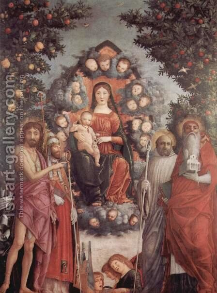 Madonna with saints, scene Mary with Child and Saints by Andrea Mantegna - Reproduction Oil Painting