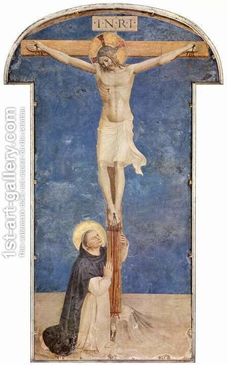 St. Dominic at the Cross of Christ by Angelico Fra - Reproduction Oil Painting