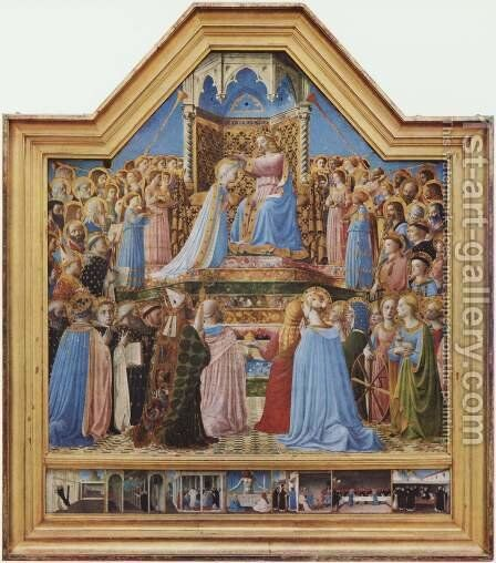 Crowning Mary, and scenes from the life of St. Dominic by Angelico Fra - Reproduction Oil Painting