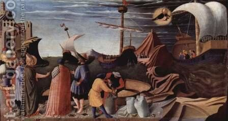 Triptych of San Domenico in Perugia on the life of St. Nicholas of Bari, scene of the rescue of three sailors by Angelico Fra - Reproduction Oil Painting