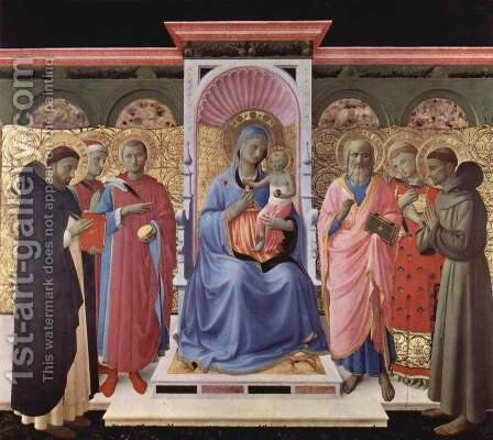 Enthroned Virgin and Child with Saints by Angelico Fra - Reproduction Oil Painting