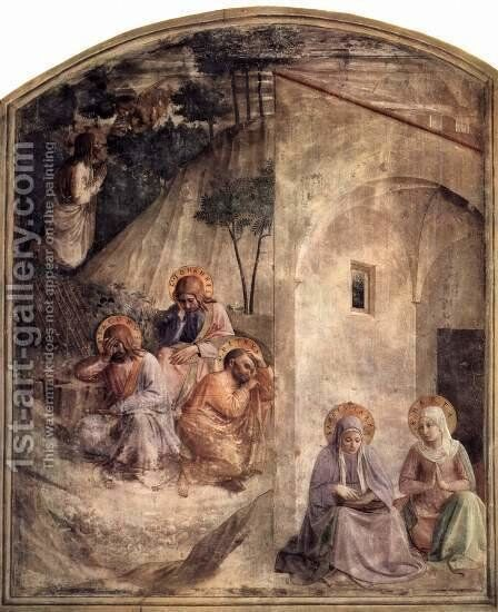 Frescoes in the Dominican convent of San Marco in Florence scene of Christ on the Mount of Olives by Angelico Fra - Reproduction Oil Painting