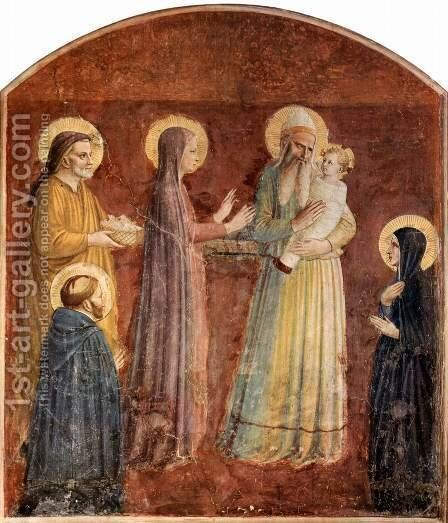 Frescoes in the Dominican convent of San Marco in Florence, presentation in the temple by Angelico Fra - Reproduction Oil Painting