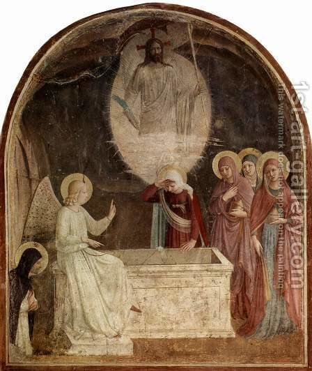 Frescoes in the Dominican convent of San Marco in Florence scene The Three Marys at the tomb of Christ by Angelico Fra - Reproduction Oil Painting