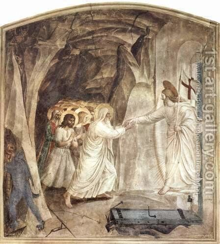 Frescoes in the Dominican fresco cycle in the Dominican convent of San Marco in Florence scene descention of Christ, Old Testament redemption person ( by Angelico Fra - Reproduction Oil Painting