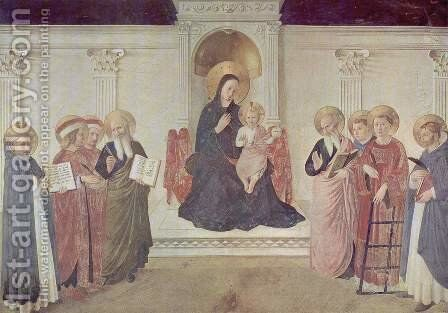 Frescoes in the Dominican convent of San Marco in Florence scene Mary with the Christ Child and Saints by Angelico Fra - Reproduction Oil Painting