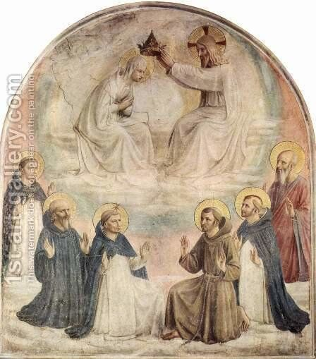 Frescoes in the Dominican convent of San Marco in Florence, Crowing Mary by Angelico Fra - Reproduction Oil Painting