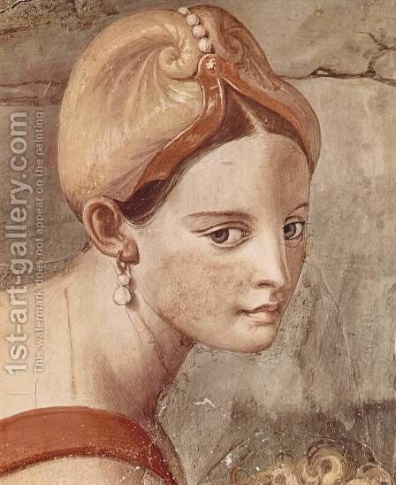 Frescoes in the Chapel of Eleonora da Toledo in the Palazzo Vecchio in Florence, right side wall passage of the Israelites through the Red Sea, detail by Agnolo Bronzino - Reproduction Oil Painting