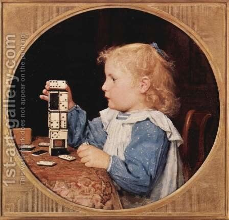 The girl with the dominoes, Tondo by Albert Anker - Reproduction Oil Painting