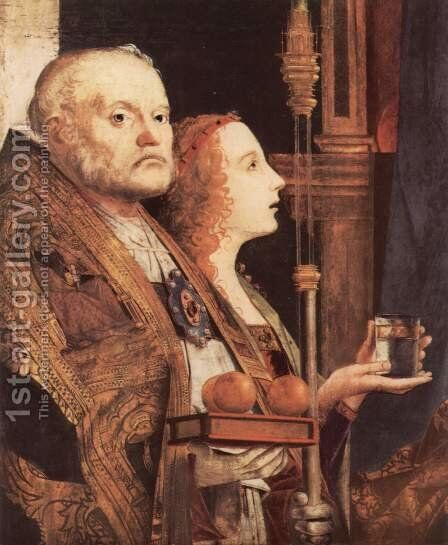 Fragment of the Pala di San Cassiano, Venice, Detail of St. Nicholas and St. Mary Magdalene by Antonello da Messina Messina - Reproduction Oil Painting