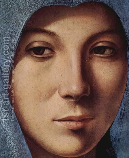 Mary of the Annunciation, Detail of Mary's face by Antonello da Messina Messina - Reproduction Oil Painting