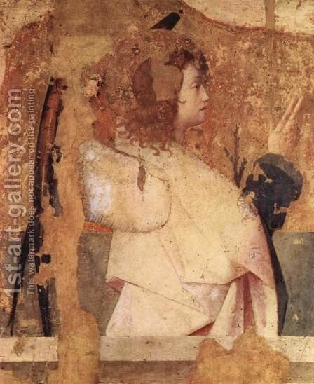 Polyptych of St. Gregory fragment of the left upper panel, Annunciation angel scene by Antonello da Messina Messina - Reproduction Oil Painting