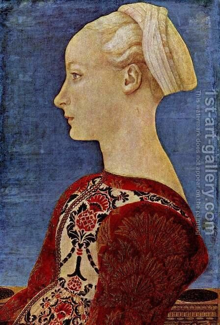 Profile portrait of a young woman by Antonio Del Pollaiuolo - Reproduction Oil Painting