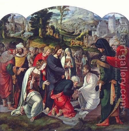 Raising of Lazarus by Aertgen van Leyden - Reproduction Oil Painting