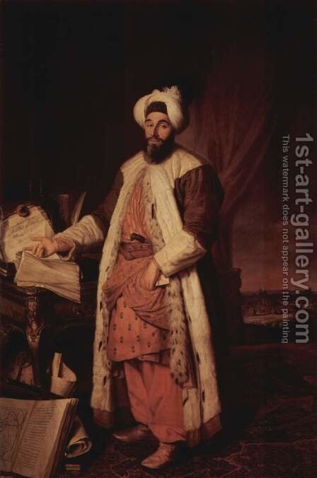 Portrait of Sa'id Pasha by Jacques-André-Joseph Aved - Reproduction Oil Painting