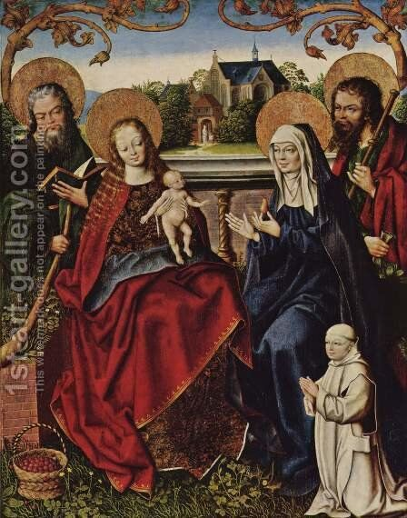 Holy Family with Carthusian by Jan Baegert - Reproduction Oil Painting