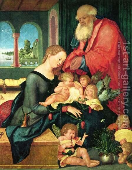 Holy Family in the room with five angels by Hans Baldung  Grien - Reproduction Oil Painting