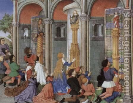 Miniature from the La Teseida of Boccaccio, French manuscript, Scene Emilia, Arcitas Palemon and in prayer to Diana by Barthelemy d' Eyck - Reproduction Oil Painting