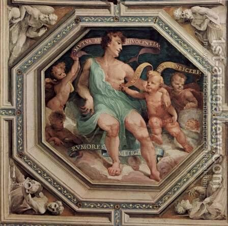 Allegorical frescos (Political virtues) from the Palazzo Pubblico (Siena), scene allegory of Concord (Concordia) by Domenico Beccafumi - Reproduction Oil Painting