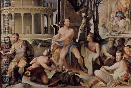 Allegorical frescos (Political virtues) from the Palazzo Pubblico in Siena scene, the victim of Codrus, king of Athens by Domenico Beccafumi - Reproduction Oil Painting