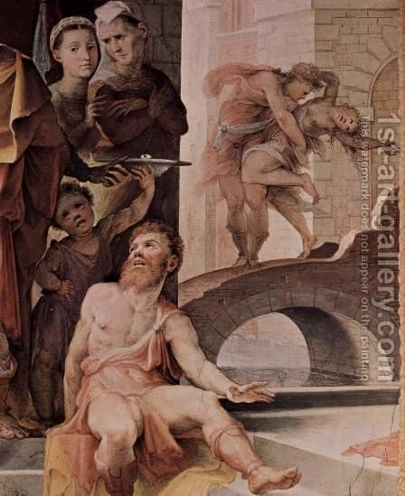 Allegorical frescos (Political virtues) from the Palazzo Pubblico in Siena scene, the victim of Seleucus of Locris, detail by Domenico Beccafumi - Reproduction Oil Painting