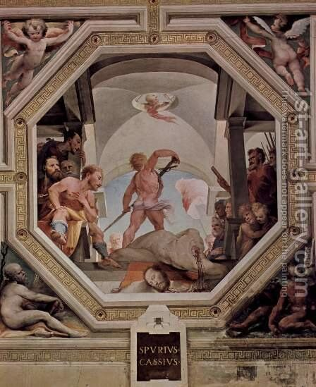 Allegorical frescos (Political virtues) from the Palazzo Pubblico in Siena scene, the decapitation of the Spurius Cassius. by Domenico Beccafumi - Reproduction Oil Painting