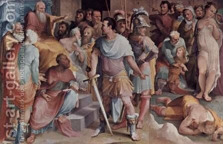 Allegorical frescos (Political virtues) from the Palazzo Pubblico in Siena scene, the murder of the false Melius by Domenico Beccafumi - Reproduction Oil Painting