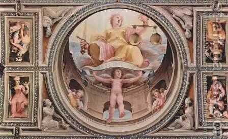Allegorical frescos (Political virtues) from the Palazzo Pubblico in Siena scene Justicia by Domenico Beccafumi - Reproduction Oil Painting