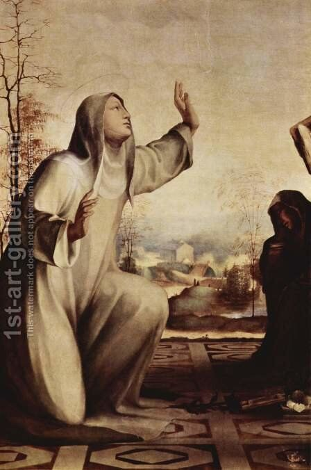 The St. Catherine received the stigmata, with St. Benedict and St. Jerome, Altarpiece, detail of St. Catherine by Domenico Beccafumi - Reproduction Oil Painting