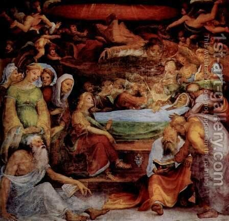 Frescoes in the Oratory of St. Benedict in Siena, the Virgin Scene by Domenico Beccafumi - Reproduction Oil Painting