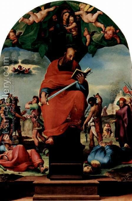 Enthroned St. Paul, altarpieces by Domenico Beccafumi - Reproduction Oil Painting