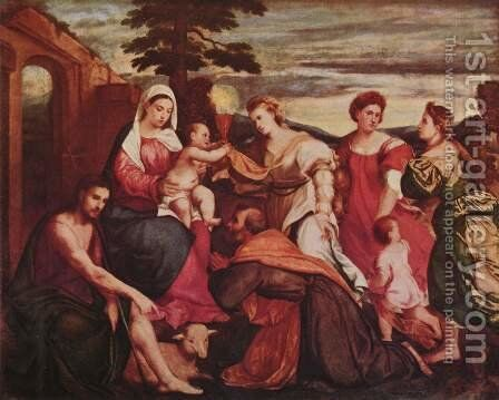 Mary and the three theological virtues by Bonifacio Veronese (Pitati) - Reproduction Oil Painting