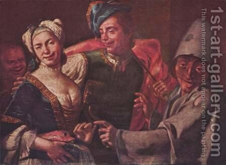 Genre scene with masks by Giuseppe Bonito - Reproduction Oil Painting
