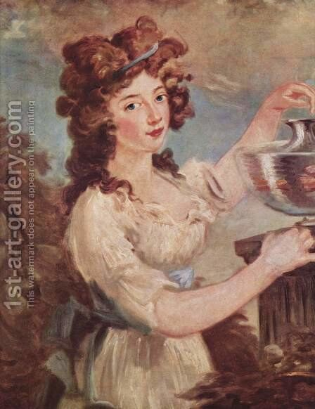 Portrait of a young lady with goldfish by Carl Frederick von Breda - Reproduction Oil Painting