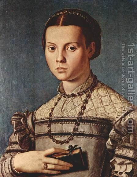 Portrait of a girl with book by Agnolo Bronzino - Reproduction Oil Painting