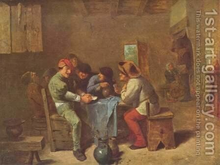 Card playing peasants in an Inn by Adriaen Brouwer - Reproduction Oil Painting