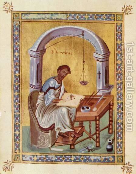 The Evangelist Luke reading by Byzantine Unknown Master - Reproduction Oil Painting