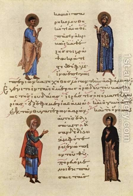 Four Saints by Byzantine Unknown Master - Reproduction Oil Painting