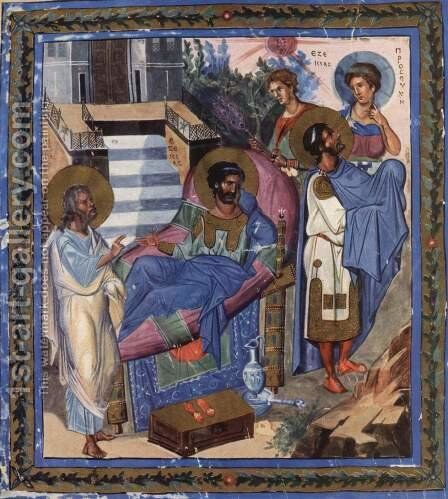 Psalter, Scene The disease and the recovery of Ezekiel by Byzantine Unknown Master - Reproduction Oil Painting