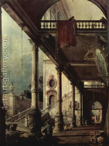 The arcade by (Giovanni Antonio Canal) Canaletto - Reproduction Oil Painting