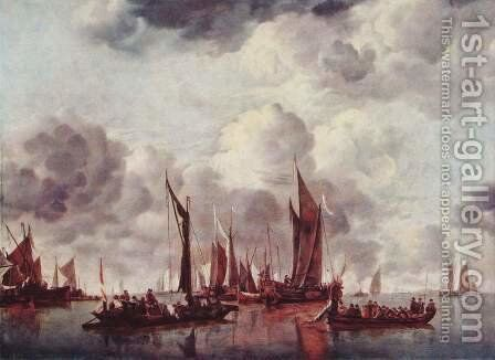 Sailing boats in the harbor by (after) Jan Van De Cappelle - Reproduction Oil Painting