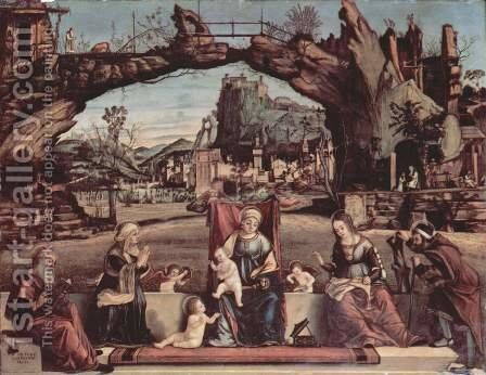 Enthroned Virgin and John the Baptist, left St. Joseph and St. Anne, right, St. Elizabeth and St. Zacharias by Vittore Carpaccio - Reproduction Oil Painting