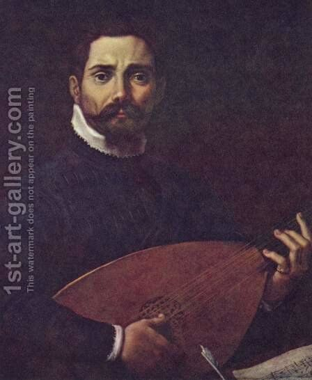 Portrait of Giovanni Gabrieli with lute by Annibale Carracci - Reproduction Oil Painting