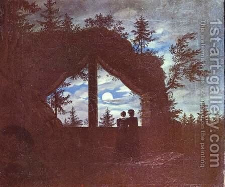Oybin window at the moonlight by Carl Gustav Carus - Reproduction Oil Painting