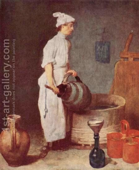 The washing up guy in the pub by Jean-Baptiste-Simeon Chardin - Reproduction Oil Painting