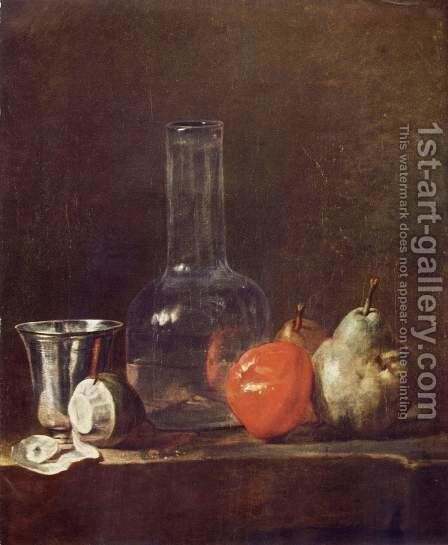 Still Life with Glass Flask and Fruit by Jean-Baptiste-Simeon Chardin - Reproduction Oil Painting