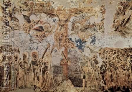 Frescoes in the Upper Church of San Francesco in Assisi, West wall of the transept, crucifixion scene, fragment by (Cenni Di Peppi) Cimabue - Reproduction Oil Painting